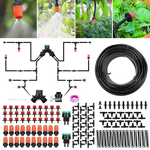 Sistema de riego Jardín, Kit de riego por goteo micro Riego automático Rociadores por goteo Riego de jardín para el...
