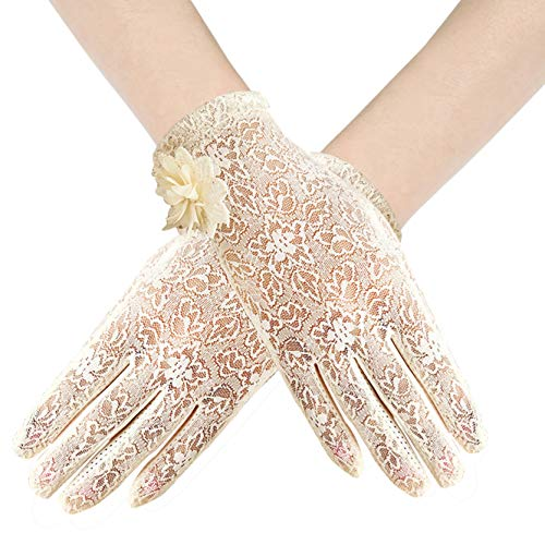 BABEYOND Floral Lace Gloves for Wedding Opera Party 1920s Flapper Lace Gloves Stretchy Adult Size (Beige)