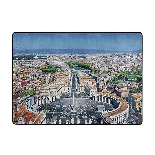 Welcome Door Mats Non-Slip Doormat Cityscape Saint Peters Square in Rome Italian Mediterranean Europe Citscape 80' x 58' Multi-Color Modern Area Rug