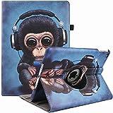 Funda para iPad Air 2/Air 1/iPad 9.7 pulgadas 2018/2017 (5ª/6ª generación), 360 grados de rotación multiángulo de visualización con función atril y apagado automático (auriculares monkey)