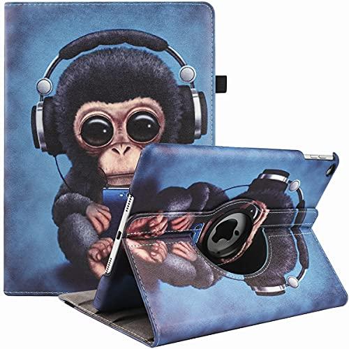 Funda para iPad Air 2/Air 1/iPad 9.7 pulgadas 5ª/6ª generación (modelo 2017/2018), 360 grados rotación multi-ángulo visualización Folio Stand Cases con auto Sleep/Wake (auriculares monkey)
