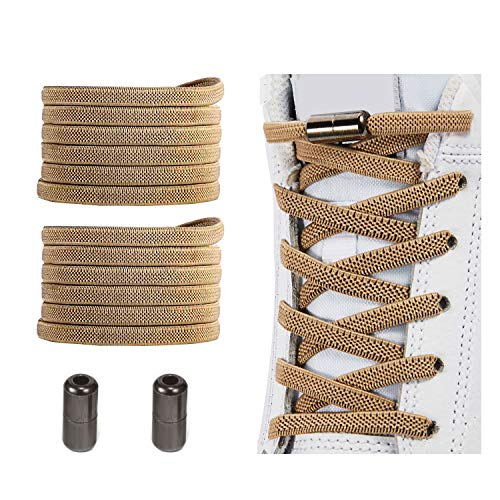 No Tie Shoelaces , Elastic Shoelaces for Adults/Kids,Elastic No Tie Shoe Laces Coyote Brown