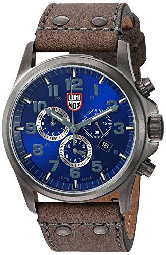 Luminox Men's 'Atacama Field' Swiss Quartz Stainless Steel and Leather Casual Watch, Color:Grey...