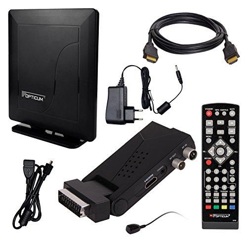 DVB-T/T2 Set: Opticum HD AX Lion Air 2 HEVC DVB-T/T2 Receiver + Opticum HD550 DVB-T/T2, FM, DAB Aktive Antenne (Full HD, HEVC/H.265, HDTV, HDMI, SCART, USB 2.0 DVBT DVBT2 DVB-T2)