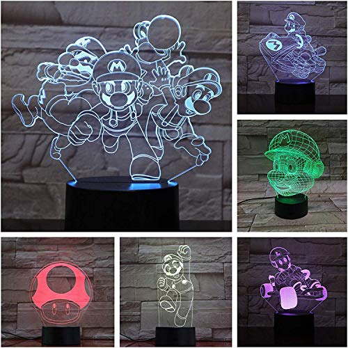 Spel Super Mario Bros Action Figuur Bureau Lamp 3D Slaapkamer Decoratieve Lamp Kind Kids Baby Gift Nachtlampje LED Decor A-1809