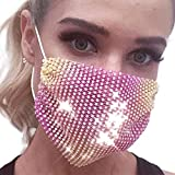 Barode Sparkly Rhinestones Mesh Mask Crystal Purple Masquerade Party Nightclub Face Masks Jewelry for Women and Girls (Rose red yellow)