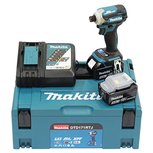Makita DTD171RTJ Visseuse à chocs Brushless + 2 batteries 18V 5Ah Li-ion + coffret Makpac