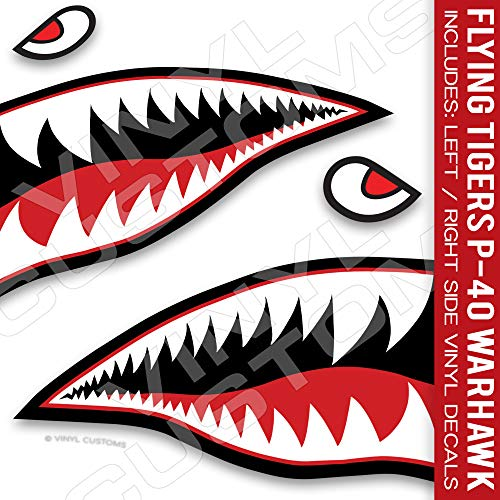 Flying Tigers Decals Shark Teeth Stickers P-40 Warhawk (3' inches - 3 Pair)