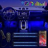 POMILE Luces Led Coche , 4 RGB 60 LED Luz interior coche, APP Control Dos Líneas de Diseño a Prueba de Agua Luces de...