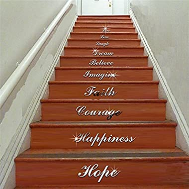 Hosaire Stairs WordArt Love Live Laugh Dream Mirror Wall Stickers Room Decoration Acrylic Mirrored Decorative Sticker