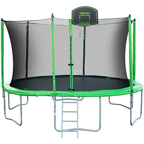 Merax SW000009FAA 14' Round Trampoline with Safety Enclosure, Basketball Hoop & Ladder