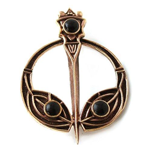 LynnAround Bronze Black Onyx Stone Tara Brooches Celtic Norse Irish Vintage - Cloak Shawl Scarf Pin, Norse Jewelry (Black Onyx)