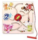 Labirinto magnetico in legno, colori e numeri con rotella girevole
