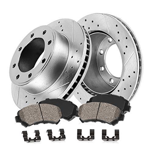 Callahan CDS02417 FRONT 362.8mm D/S 8 Lug [2] Rotors + Ceramic Brake Pads + Hardware [ fit Ford F-250 F-350 F-450 4WD ]