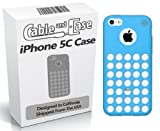 iPhone 5c Case by Cable and Case Circle Dot Holes Soft Skin Grip Rubber Thin Case for iPhone 5C - 5C Phone Cases - Phone Case for iPhone 5c- Retail Packaging - Blue