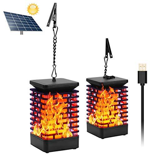 Solar Laterne Flammenlicht USB Wiederaufladbar Garten Hängelaterne Outdoor Solarleuchte Flammen Gartenlaternen IP65 Solar Licht Gartenleuchten Solarlaterne Flammenlampe Auto EIN/Aus (Licht Sensor)