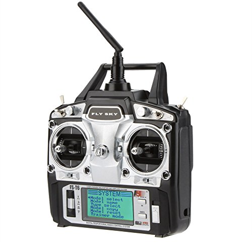 Fly Sky FS-T6 2.4GHz Digital 6 Changel LCD Transmitter with Receiver R6B Radio System for RC Helicopter Quadcopter Glider Airplane(Mode 1)