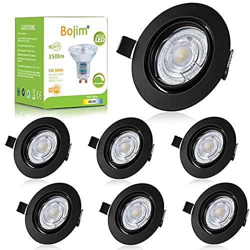Bojim Focos Empotrables Led Regulables GU10, 6x 6W Ojos de buey LED para Techo Negro 230V, 350LM Foco Empotrado Blanco Frio 4000K = Halogeno 50W, 30° Rotable Luz de Techo Interior Redondo IP20, CRI 90