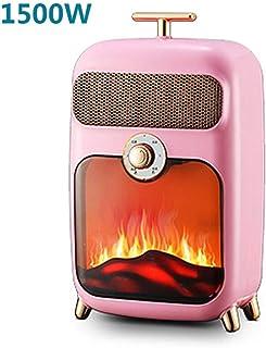 GYF Calefactor eléctrico 1500W Calefactor Eléctrico Bajo Consumo Portátil Pequeña Mini Estilo Europeo Llama Calentador Calentador Calentador Rojo (Color : Pink)