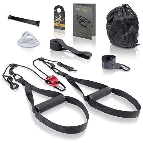 High Pulse Entrenamiento Suspension (7 piezas) – Kit fitness + polea, anclaje para puerta, fijación para pared, póster, cartel para puerta, funda y banda de resistencia