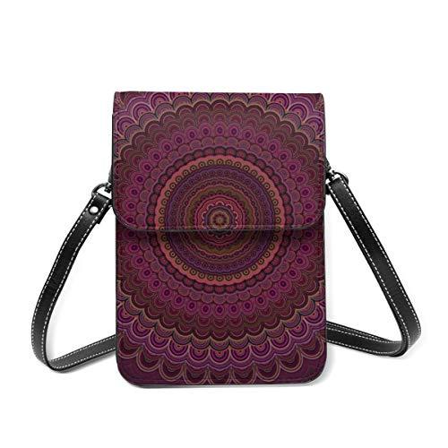 Kleine Umhängetasche, dunkelviolette Mandala-Umhängetasche, Handy-Geldbörse, leichte Crossbody-Handtaschen für Frauen und Mädchen