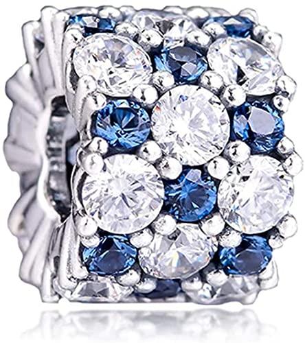 VVHN Pulseras de los Hombres Winter Blue and Clear Sparkle Bead 925 Silver DIY se Adapta a la joyería Original de Pandora con Pulseras de dijes