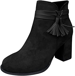 Women Suede Short Boots Ankle, Ladies Solid Round Toe Fashion Fringe Single Shoes Side Zip Booties