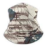Zeyustge - Fundas exteriores antiguas para barcos y mapas con temática de tropiezos sin costuras, cuello silenciador, polaina, pañuelos para la cabeza, diademas