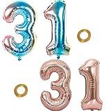 Haosell - Juego de 2 globos para fiesta con número 31 de arcoíris y oro rosa, número 31 de cumpleaños número 31 para decoración de fiestas de cumpleaños XL 32