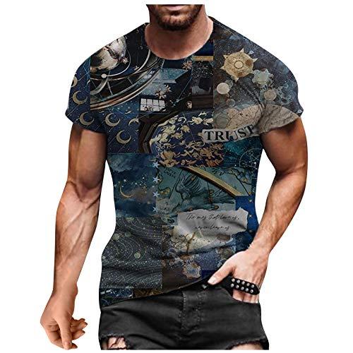 Xmiral Top T-Shirt Uomo Summer Casual 3D Stampato Manica Corta Girocollo Camicetta (XXL,4Nero)