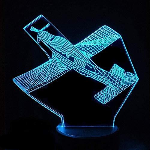 Luz de noche ilusión 3D 7 colores Led visión avión de combate interruptor de mesa óptico decoración de dormitorio colorido regalo creativo Control remoto