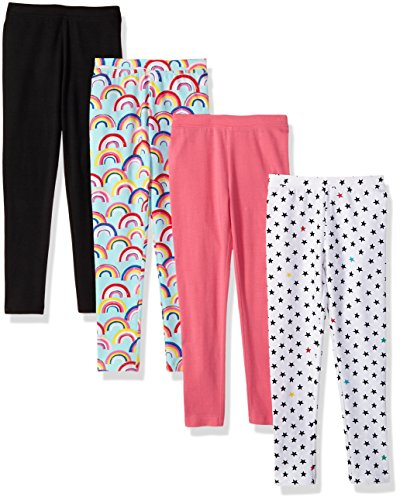 Spotted Zebra Girls' Kids Leggings, 4-Pack Rainbows/Stars, Large