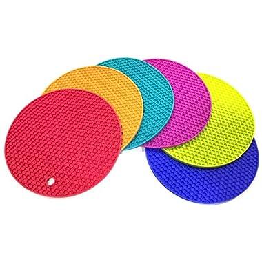6 ALAZCO Premium Silicone Trivet Mats / Hot Pads, Pot Holders, Spoon Rest, Jar Opener & Coasters Multi-Purpose High Heat Resistant Honeycomb Technology Thick & Flexible Vibrant Colors