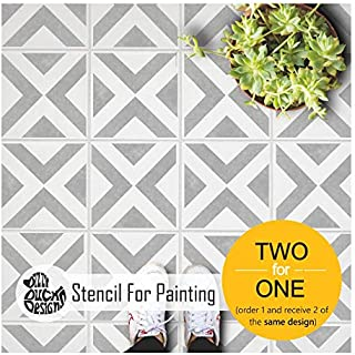 Ksar Geometric Tile Stencils for Painting Walls and Floors | Custom Sizes Available 15 cm
