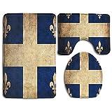 Rutschfeste 3-teilige weiche retro-vintage-badteppiche mit flagge von quebec vintage canada flag waschbarer badteppich + konturmatte + toilettensitzbezug, Bodenteppich für fußmatten badewanne duschrau