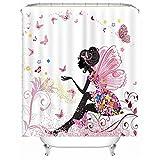 meosu Duschvorhang Persönlichkeit Schmetterling Mädchen Rosa Bad Trennvorhang Kind Toilette Dekoration Wasserdicht 180x200cm Schmetterling Mädchen