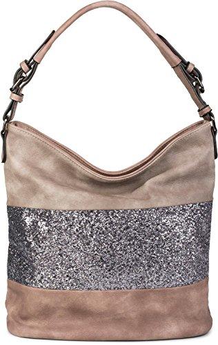 styleBREAKER edle 2-farbige Hobo Bag Handtasche mit Pailletten Streifen, Shopper, Schultertasche, Tasche, Damen 02012181, Farbe:Altrose/Taupe