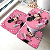 Rainbow Fart Cartoon Mickey Minnie Mouse Bathroom Mat 3-Piece Set, Bathroom U-Shaped Contour Mat/Floor Mat/Toilet Cover Bathroom Carpet Cover, Soft Non Anti-Slip Mats Carpet Bathroom Mat Cover