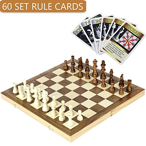 """iBaseToy Folding Wooden Chess Set with 60 Game Rules Cards for Adults Kids Beginners Large Chess Board - 15"""" x 15"""" Foldable Board"""
