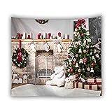 KHKJ Árbol Tapiz Colgante de Pared Boho Fondo de Madera Decoración navideña Alfombra Tapices de Tela de Pared Manta Cortina A4 150x130cm