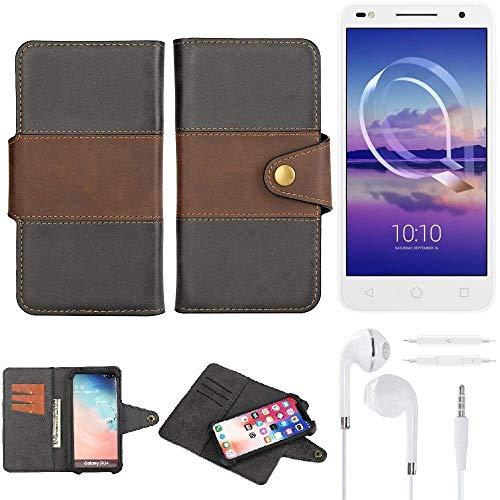 K-S-Trade® Handy-Hülle Schutz-Hülle Bookstyle Wallet-Case Für -Alcatel U5 HD Dual SIM- + Earphones Bumper R&umschutz Schwarz-braun 1x