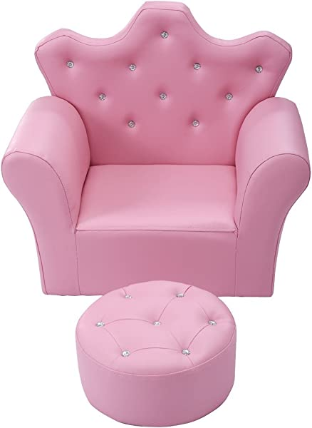 BeUniquetoday Pink Kids Sofa Armrest Couch With Ottoman Pink Single Children Birthday Bedroom Toddler