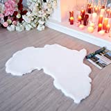Map of Africa Faux Fur Rug - Customers Call it IMPACTFUL Gift - Soft Rabbit Area Rugs/White Wool Sofa + Tablecloth Chair Decor Bedroom Living Room 3x3 feet
