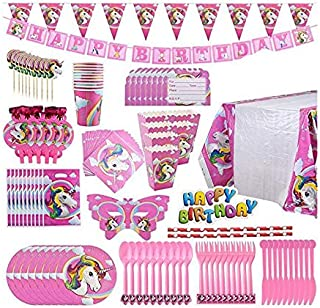 B Unicorn Party Supplies Pack, Comes Disposable Tableware Birthday Party Decoration Set, Serve 10, All-in-One Value Kit, P...