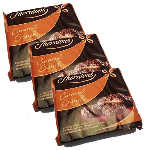 Thorntons Caramel Crunch | Milk Chocolate Biscuit with Caramel, Fruit and Nut | 3x140g
