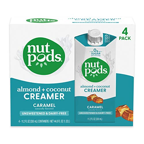 nutpods Caramel, Unsweetened Dairy-Free Liquid Coffee Creamer Made From Almonds and Coconuts (4-pack)