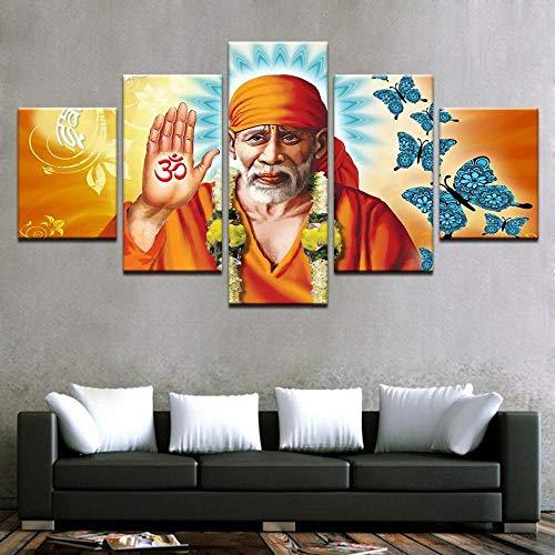 N/X Pintura Arte de la Pared Lienzo Moderno Cartel Modular 5 Panel Sai Baba Buda HD Impreso Sala de Estar Imágenes Decoración para el hogar, Enmarcado 30X40 30X60 30X80cm