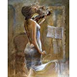 FGBEKNB Pintar por Numeros Bricolaje Lienzo Pintura al óleo Kits con acrílica y Pinceles Decoración del Hogar para Adultos Niños Principiantes 40×50 cm Sin Marco(Mujer Musica Violin)