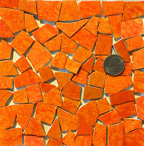 Mosaic Art and Crafts Supplies HP Hand Painted Recycled Broken Dish Tiles Agate Orange HP04