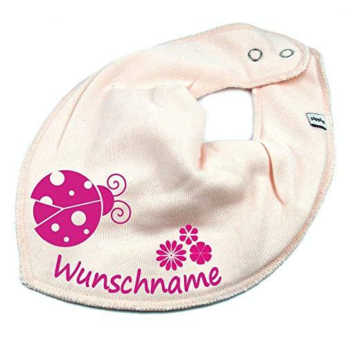 Elefantasie HALSTUCH Marienkäfer Blume mit Namen oder Text personalisiert rosa für Baby oder Kind